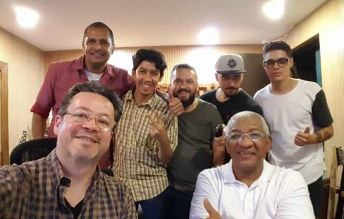 Grabando con el maestro Paniagua, Humberto Arias, Camilo Patiño, Roberto Restrepo